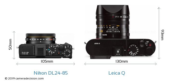 Nikon DL24-85 vs Leica Q Camera Size Comparison - Top View