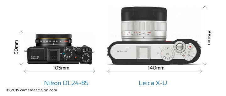 Nikon DL24-85 vs Leica X-U Camera Size Comparison - Top View