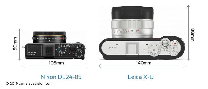 Nikon DL24-85 vs Leica X-U Camera Size Comparison - Top View