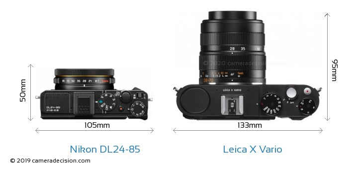 Nikon DL24-85 vs Leica X Vario Camera Size Comparison - Top View