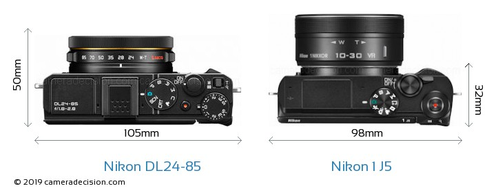 Nikon DL24-85 vs Nikon 1 J5 Camera Size Comparison - Top View