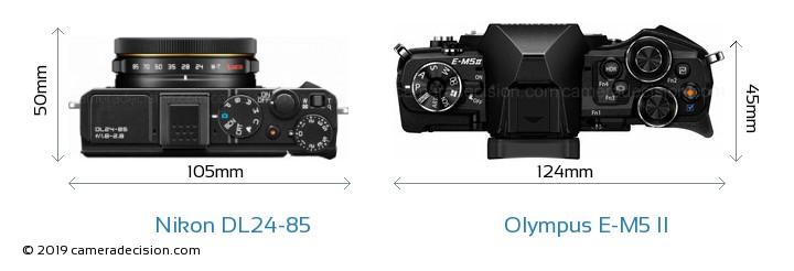 Nikon DL24-85 vs Olympus E-M5 II Camera Size Comparison - Top View