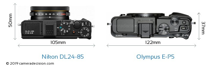 Nikon DL24-85 vs Olympus E-P5 Camera Size Comparison - Top View