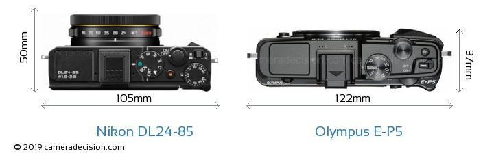 Nikon DL24-85 vs Olympus E-P5 Camera Size Comparison - Top View