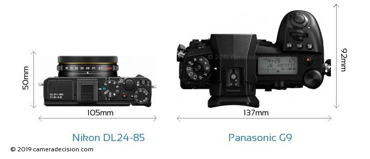 Nikon DL24-85 vs Panasonic G9 Camera Size Comparison - Top View
