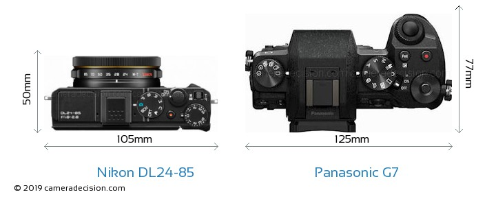 Nikon DL24-85 vs Panasonic G7 Camera Size Comparison - Top View