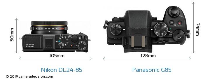 Nikon DL24-85 vs Panasonic G85 Camera Size Comparison - Top View