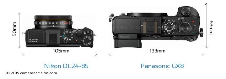 Nikon DL24-85 vs Panasonic GX8 Camera Size Comparison - Top View