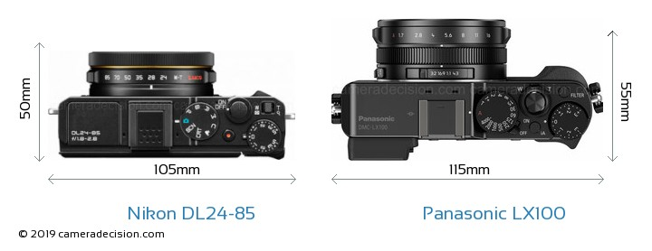 Nikon DL24-85 vs Panasonic LX100 Camera Size Comparison - Top View