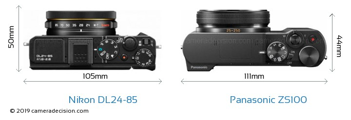 Nikon DL24-85 vs Panasonic ZS100 Camera Size Comparison - Top View