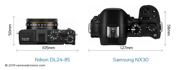 Nikon DL24-85 vs Samsung NX30 Camera Size Comparison - Top View