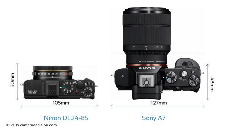 Nikon DL24-85 vs Sony A7 Camera Size Comparison - Top View