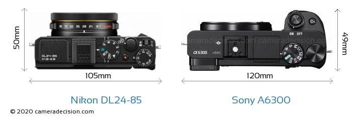 Nikon DL24-85 vs Sony A6300 Camera Size Comparison - Top View