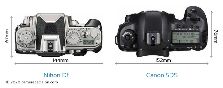 Nikon Df vs Canon 5DS Camera Size Comparison - Top View