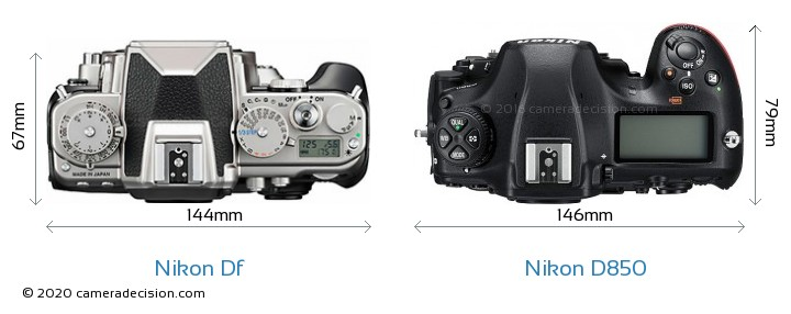 Nikon Df vs Nikon D850 Camera Size Comparison - Top View