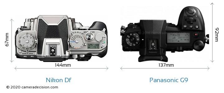 Nikon Df vs Panasonic G9 Camera Size Comparison - Top View