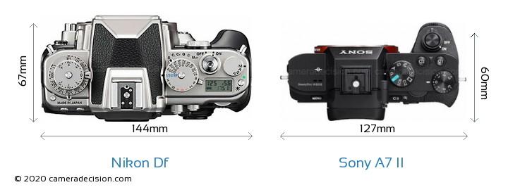 Nikon Df vs Sony A7 II Camera Size Comparison - Top View
