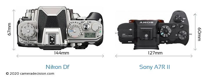 Nikon Df vs Sony A7R II Camera Size Comparison - Top View
