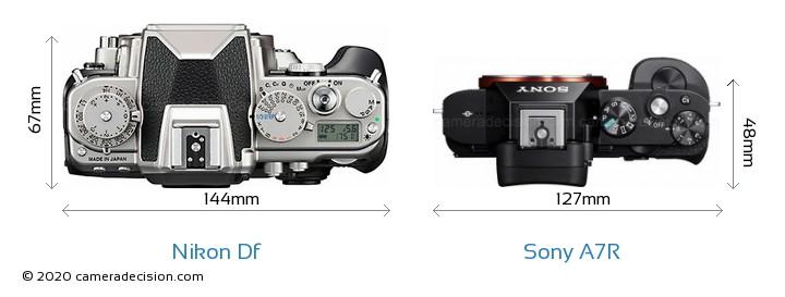 Nikon Df vs Sony A7R Camera Size Comparison - Top View