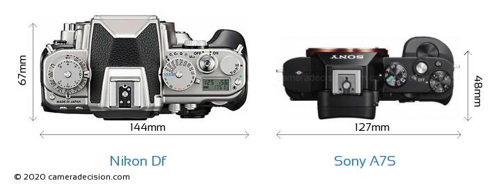 Nikon Df vs Sony A7S Camera Size Comparison - Top View