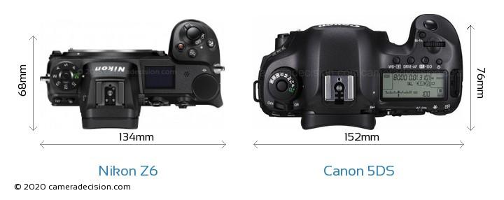 Nikon Z 6 vs Canon 5DS Camera Size Comparison - Top View
