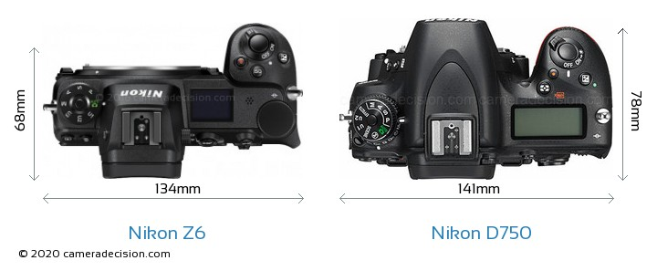 Nikon Z 6 vs Nikon D750 Camera Size Comparison - Top View