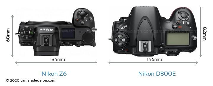 Nikon Z 6 vs Nikon D800E Camera Size Comparison - Top View