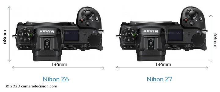 Nikon Z 6 vs Nikon Z 7 Camera Size Comparison - Top View