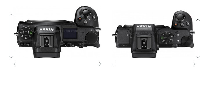 Nikon Z6 vs Nikon Z50 Camera Size Comparison - Top View