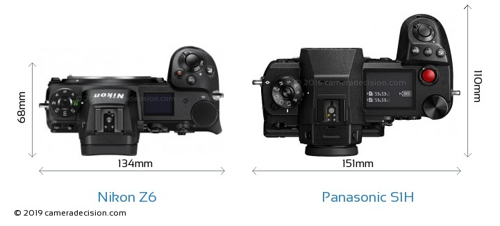 Nikon Z6 vs Panasonic S1H Camera Size Comparison - Top View