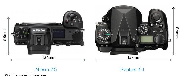 Nikon Z 6 vs Pentax K-1 Camera Size Comparison - Top View