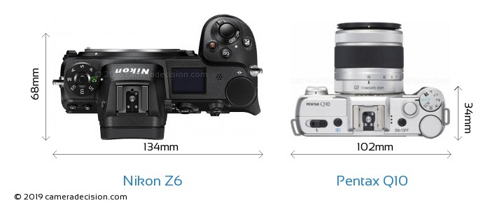 Nikon Z6 vs Pentax Q10 Camera Size Comparison - Top View