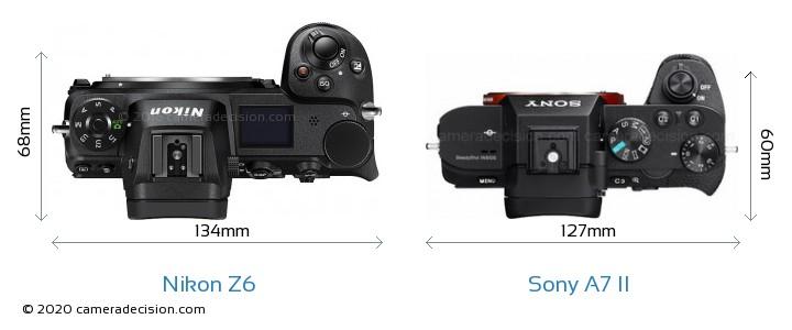 Nikon Z6 vs Sony A7 II Camera Size Comparison - Top View