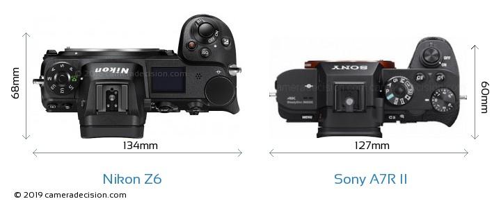 Nikon Z6 vs Sony A7R II Camera Size Comparison - Top View
