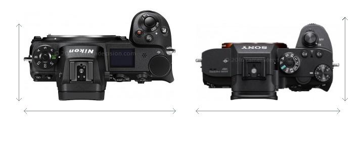 Nikon Z6 vs Sony A7R III Camera Size Comparison - Top View
