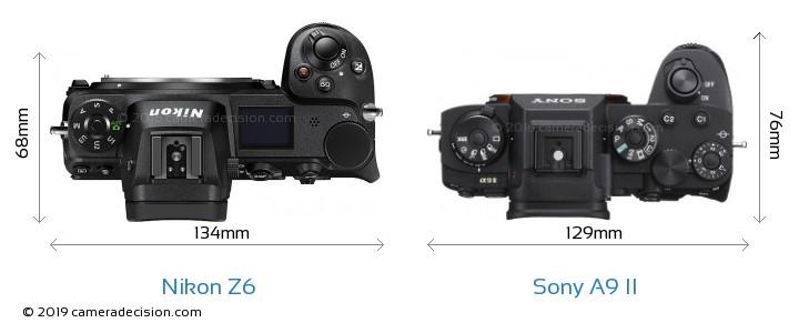 Nikon Z6 vs Sony A9 II Camera Size Comparison - Top View