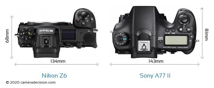 Nikon Z6 vs Sony A77 II Camera Size Comparison - Top View
