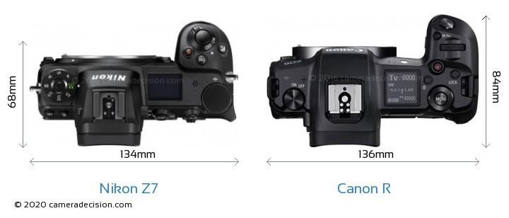 Nikon Z 7 vs Canon R Camera Size Comparison - Top View