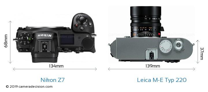 Nikon Z7 vs Leica M-E Typ 220 Camera Size Comparison - Top View