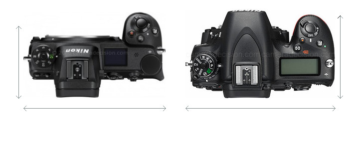 Nikon Z 7 vs Nikon D750 Camera Size Comparison - Top View