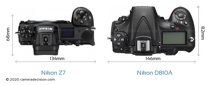 Nikon Z7 vs Nikon D810A Camera Size Comparison - Top View