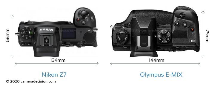 Nikon Z 7 vs Olympus E-M1X Camera Size Comparison - Top View