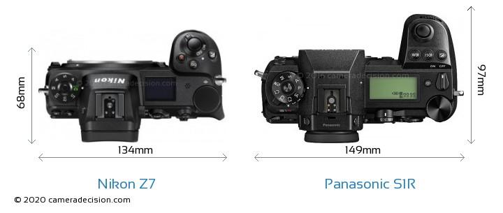 Nikon Z7 vs Panasonic S1R Camera Size Comparison - Top View