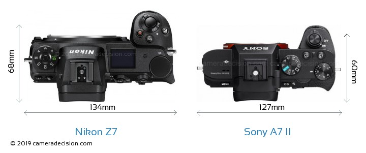 Nikon Z7 vs Sony A7 II Camera Size Comparison - Top View