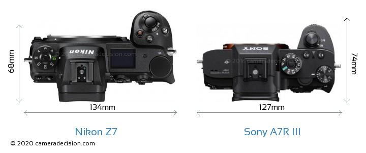 Nikon Z7 vs Sony A7R III Camera Size Comparison - Top View