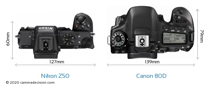 Nikon Z50 vs Canon 80D Camera Size Comparison - Top View