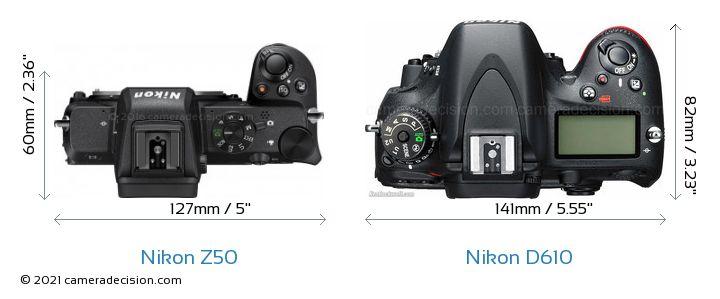 Nikon Z50 vs Nikon D610 Camera Size Comparison - Top View