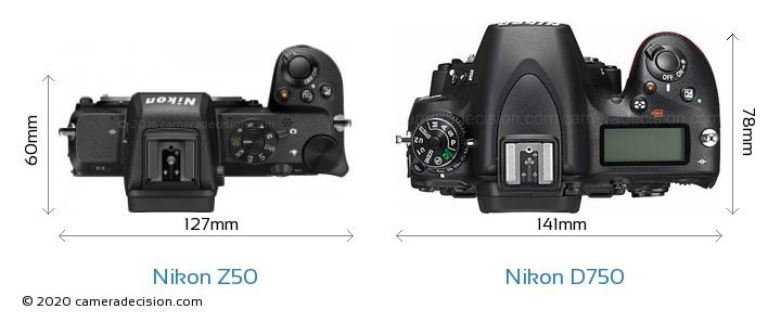Nikon Z50 vs Nikon D750 Camera Size Comparison - Top View