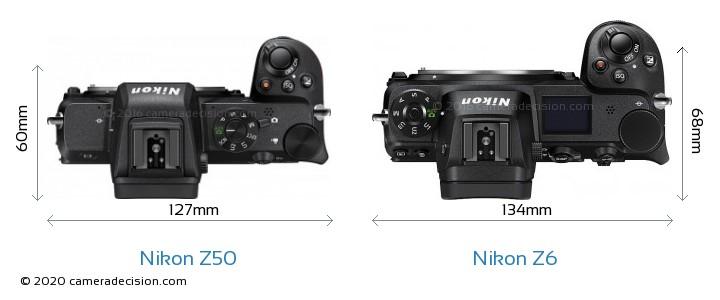 Nikon Z50 vs Nikon Z6 Camera Size Comparison - Top View