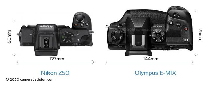 Nikon Z50 vs Olympus E-M1X Camera Size Comparison - Top View